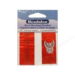 6 Aiguilles à Perler Beadalon 50mm + Enfileur