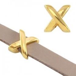 Perle Passant Croix Métal 8x8x6mm Gold
