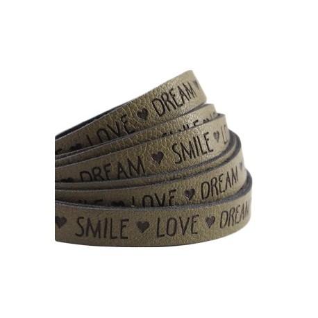 """Lanière 10mm Imitation Cuir """"Love Dream Smile """"Vert Olive / 20cm"""