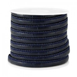 Cordon Imitation Cuir Rond Cousu Bamboo Bleu Foncé 6x4mm/20cm