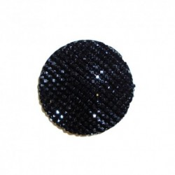 Cabochon Rond 16mm Strass Noir