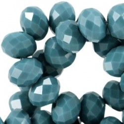 Perle Cristal Facetté Bleu Zircon Opaque 8x6mm