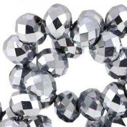 Perle Cristal Facetté Argenté Métalisé Opaque 6x4mm