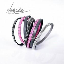 Bracelet Multi Rangs Fuchsia Gris by Nomade™