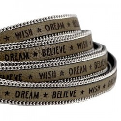 """Lanière 10mm Imitation Cuir+ Chaîne """"Dream Believe""""Brun/20cm"""