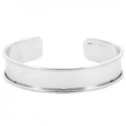 Bracelet Esclave Metal Argenté Pour Lanière Plate 10mm