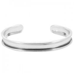 Bracelet Esclave Metal Argenté Pour Lanière Plate 5mm