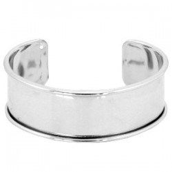 Bracelet Esclave Metal Argenté Pour Lanière Plate 20mm