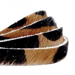 Lanniere peau Naturel Brun-Noir 8mm /20cm