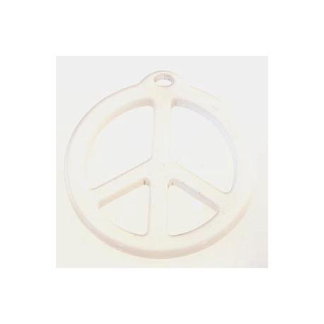 pendentif peace résine 25mm brillant blanc