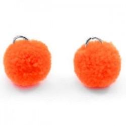 Pompon Orange 15mm avec Anneau /10 Pièces*