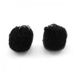 Pompon Noir 15mm avec Anneau