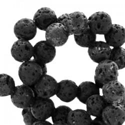 Perle Pierre de Lave 6mm Noir Mat
