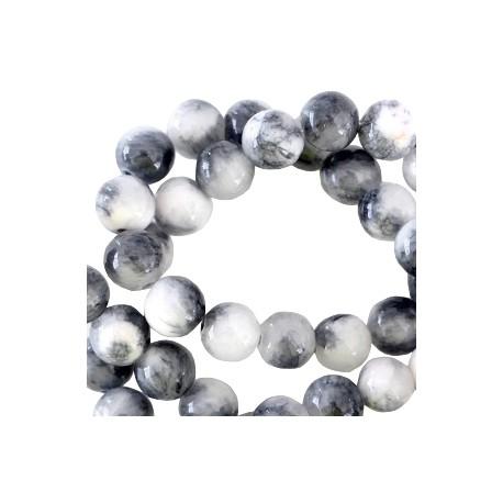 Perle Jade 6mm Noir et Blanc
