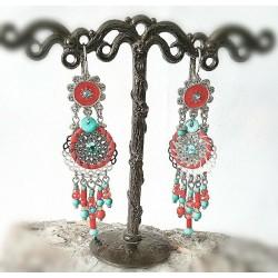 Boucles d'oreille Attrape Rêve Corail Turquoise