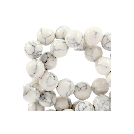 Perle Pierre Turquoise Blanche 8mm