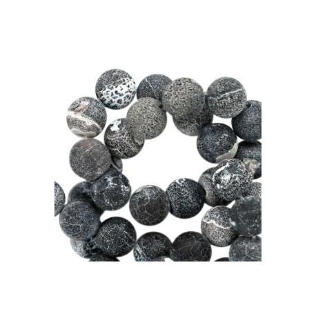 Pierre Semi-Précieuse Agate 8mm rond noir