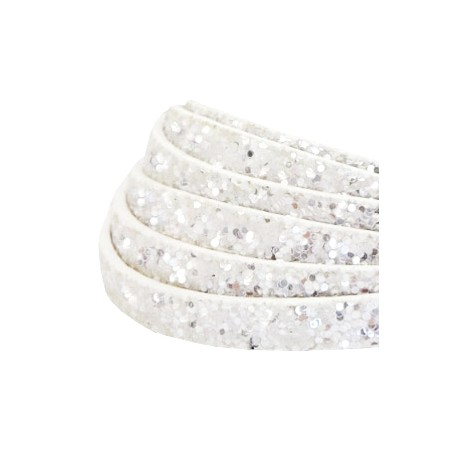 Simili Cuir Plat 5mm Paillettes blanc /20cm
