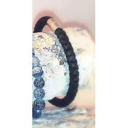 Bracelet Cuir Rond Noir 6mm