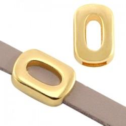 étal DQ poussoir rectangle avec ovale Ø5.2x2.2mm. Ce poussoir en métal DQ (sans nickel) s'adapte au cuir/cordon plat de 5mm. Ouv