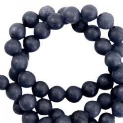 Pierre Naturelle 6mm Ronde Blue Stone Mat Bleu Nuit Foncé