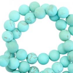 Pierres Semi-Précieuses Turquoise 6mm Rond Mat Bleu Turquoise