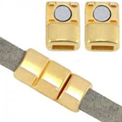 Fermoir aimanté en métal DQ (pour cuir plat 5mm) doré (sans nickel)