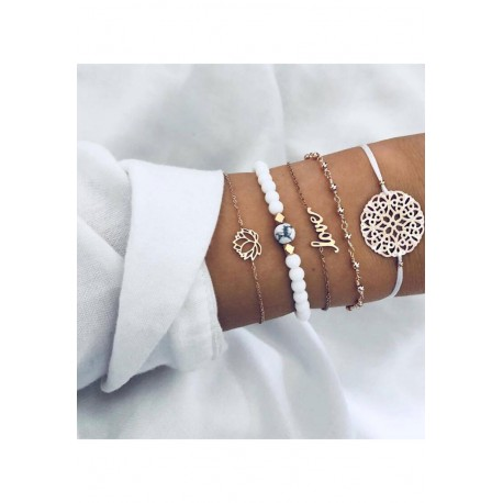 Ensemble de bracelets Doré/Blanc
