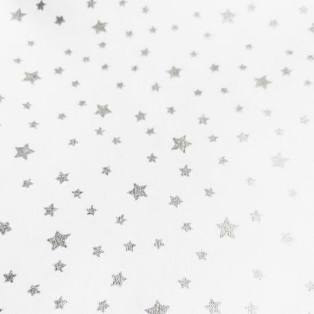 Carrré de Tissus Blanc Etoile Argent 20 cm x 20 cm