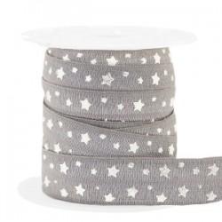 Ruban élastique étoiles Taupe-argenté /25cm