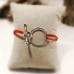 Bracelet Argent 925 Lacet coton enduit rouge