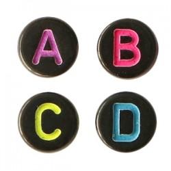 Perles lettres acryliques mélangées Noir-rainbow +/- 375 pieces