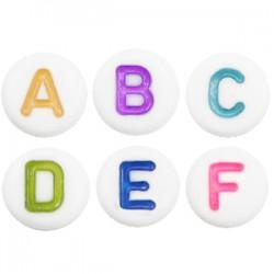 Perles lettres acryliques mélangées Multicolore-blanc +/- 375 pieces