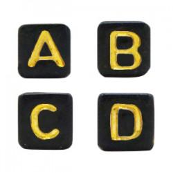 Perles lettres acryliques mélangées Noir-doré +/- 250 pieces