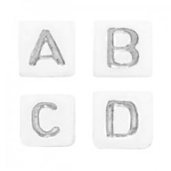 Perles lettres acryliques mélangées Blanc-argenté +/- 250 pieces
