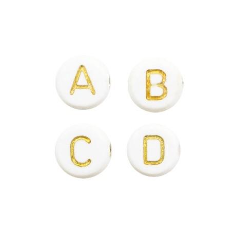 Perles lettres acryliques mélangées Blanc-doré +/- 250 pieces