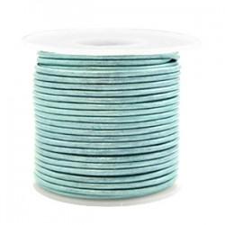 Cordon Cuir Bleu Gris 3 mm / 20 cm