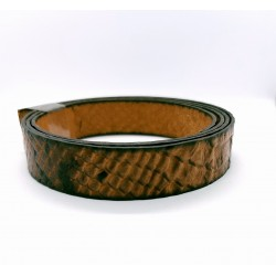 Cuir Style Serpent Plat Brun 20mm/20cm