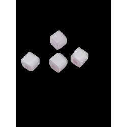 Perle œil de chat cube 4mm Mauve Clair
