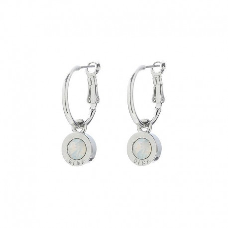 Boucles Créole avec Swarovski 'White Opal'