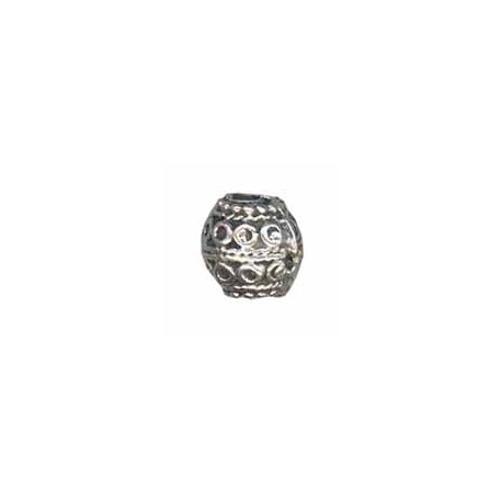 Perle ronde métal argent vieux 10mm