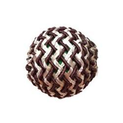 Perle fil de soie 25mm brun blanc
