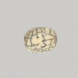 Perle crème nervuré 22x14mm