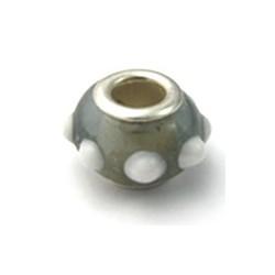 Luena perle en verre rond gris blanc 13MM