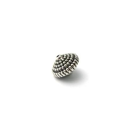 Perle argentée toupie arrondie 16MM