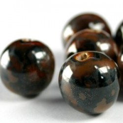 Perle ronde brun gris multi émaille 12mm