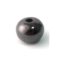 Perle ronde brun noir émaillé 16mm