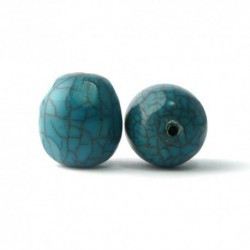 Perle résine oval bleu nervure 24X20MM