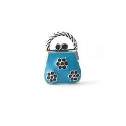 Pendentif sac à main métal émaillé bleu