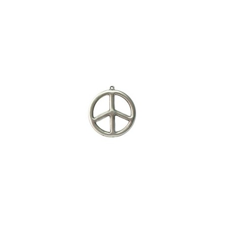 Pendentif métal rond Peace and love 35mm